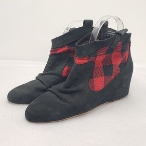 80%20 Plaid Leather Hidden Wedge Ankle Booties